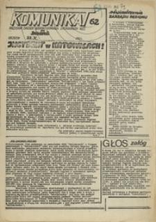 """Komunikat Prezydium Zarządu Regionu Pomorza Zachodniego NSZZ """"Solidarność"""". 1981 nr 62"""