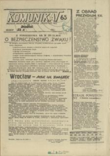 """Komunikat Prezydium Zarządu Regionu Pomorza Zachodniego NSZZ """"Solidarność"""". 1981 nr 63"""
