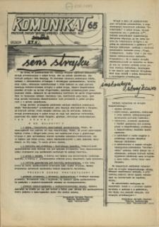 """Komunikat Prezydium Zarządu Regionu Pomorza Zachodniego NSZZ """"Solidarność"""". 1981 nr 65"""