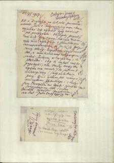 Listy Stanisława Ignacego Witkiewicza do żony Jadwigi z Unrugów Witkiewiczowej. List z 31.12.1927. Kartka z notatnika.