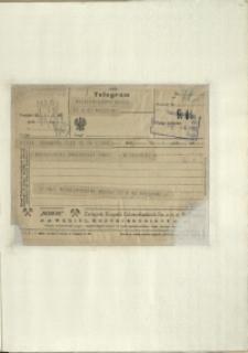 Listy Stanisława Ignacego Witkiewicza do żony Jadwigi z Unrugów Witkiewiczowej. Telegram z 14.02.1927