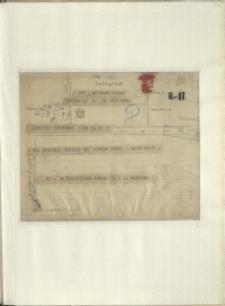 Listy Stanisława Ignacego Witkiewicza do żony Jadwigi z Unrugów Witkiewiczowej.Telegram z 22.02.1927