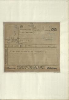 Listy Stanisława Ignacego Witkiewicza do żony Jadwigi z Unrugów Witkiewiczowej.Telegram z 08.09.1927