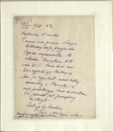 Listy Stanisława Ignacego Witkiewicza do żony Jadwigi z Unrugów Witkiewiczowej. List z 13.01.1928