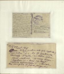 Listy Stanisława Ignacego Witkiewicza do żony Jadwigi z Unrugów Witkiewiczowej. Kartka pocztowa z 21.10.1928. List z 27.12.1928.