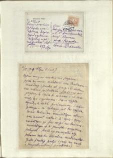 Listy Stanisława Ignacego Witkiewicza do żony Jadwigi z Unrugów Witkiewiczowej. Kartka pocztowa z 05.01.1929. List z 07.01.1929.