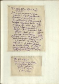 Listy Stanisława Ignacego Witkiewicza do żony Jadwigi z Unrugów Witkiewiczowej. List z 26.01.1929. List z 28.01.1929.