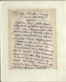 Listy Stanisława Ignacego Witkiewicza do żony Jadwigi z Unrugów Witkiewiczowej. List z 25.06.1930.