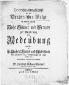 Dritte Einladungsschrift von der Oratorischen Folge