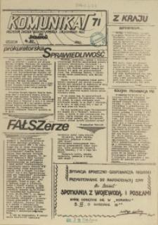 """Komunikat Prezydium Zarządu Regionu Pomorza Zachodniego NSZZ """"Solidarność"""". 1981 nr 71"""