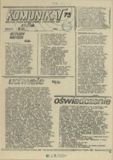 """Komunikat Prezydium Zarządu Regionu Pomorza Zachodniego NSZZ """"Solidarność"""". 1981 nr 73"""