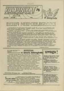 """Komunikat Prezydium Zarządu Regionu Pomorza Zachodniego NSZZ """"Solidarność"""". 1981 nr 76"""