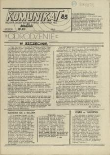 """Komunikat Prezydium Zarządu Regionu Pomorza Zachodniego NSZZ """"Solidarność"""". 1981 nr 83"""