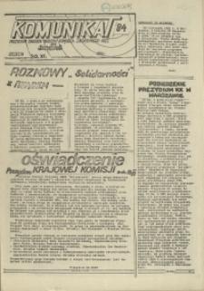 """Komunikat Prezydium Zarządu Regionu Pomorza Zachodniego NSZZ """"Solidarność"""". 1981 nr 84"""