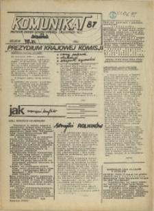 """Komunikat Prezydium Zarządu Regionu Pomorza Zachodniego NSZZ """"Solidarność"""". 1981 nr 87"""