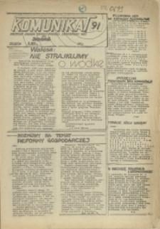 """Komunikat Prezydium Zarządu Regionu Pomorza Zachodniego NSZZ """"Solidarność"""". 1981 nr 91"""