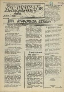 """Komunikat Prezydium Zarządu Regionu Pomorza Zachodniego NSZZ """"Solidarność"""". 1981 nr 98"""