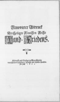 Renovirter Abdruck Des Heiligen Römischen Reichs Land-Friedens