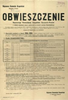 [Afisz] Obwieszczenie Rejonowego Komendanta Uzupełnień Szczecin-Powiat o dalszej rejestracji rezerw osobowych na terenie powiatu Szczecińskiego