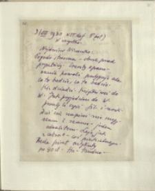 Listy Stanisława Ignacego Witkiewicza do żony Jadwigi z Unrugów Witkiewiczowej. List z 09.08.1930.