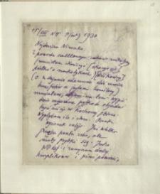 Listy Stanisława Ignacego Witkiewicza do żony Jadwigi z Unrugów Witkiewiczowej. List z 15.08.1930.