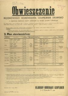 [Afisz] Obwieszczenie Rejonowego Komendanta Uzupełnień Drawsko o częściowej rejestracji rezerw osobowych na terenie powiatu Łobeskiego