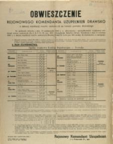 [Afisz] Obwieszczenie Rejonowego Komendanta Uzupełnień Drawsko o dalszej rejestracji rezerw osobowych na terenie powiatu drawskiego