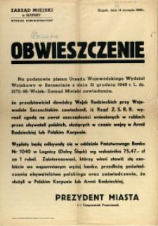 [Afisz] Obwieszczenie : [zwrot oszczędności wniesionych w rublach przez obywateli polskich]