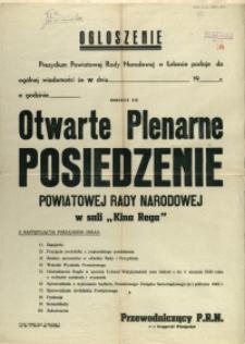 [Afisz] Ogłoszenie : Otwarte Plenarne Posiedzenie Powiatowej Rady Narodowej