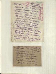 Listy Stanisława Ignacego Witkiewicza do żony Jadwigi z Unrugów Witkiewiczowej. List z 20.08.1931. Kartka pocztowa z 22.08.1931.