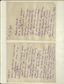 Listy Stanisława Ignacego Witkiewicza do żony Jadwigi z Unrugów Witkiewiczowej. List z 22.08.1931. List z 24.08.1931.