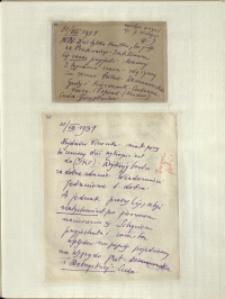 Listy Stanisława Ignacego Witkiewicza do żony Jadwigi z Unrugów Witkiewiczowej. Kartka pocztowa z 30.08.1931. List z 31.08.1931.