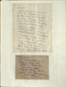 Listy Stanisława Ignacego Witkiewicza do żony Jadwigi z Unrugów Witkiewiczowej. List z 09.09.1931. Kartka pocztowa z 12.09.1931.