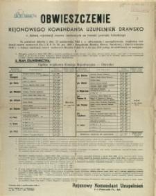 [Afisz] Obwieszczenie Rejonowego Komendanta Uzupełnień Drawsko o dalszej rejestracji rezerw osobowych na terenie powiatu łobeskiego