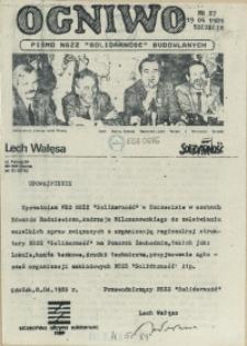 """Ogniwo : pismo NSZZ """"Solidarność"""" Budowlanych Region Pomorza Zachodniego. 1989 nr 27"""