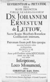 Reverentiam ac Pietatem, Erga Beate Defunctum Virum [...] Dn. Johannem Ernestum de Lettow [...] Mortuum Die XVI. Julii Anno [...] MDCCXXXIII [...]