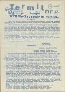 """Termit : pismo NSZZ """"Solidarność"""" WPKM w Szczecinie. 1989 nr 38"""