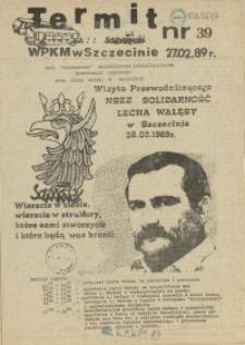 """Termit : pismo NSZZ """"Solidarność"""" WPKM w Szczecinie. 1989 nr 39"""