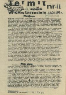 """Termit : pismo NSZZ """"Solidarność"""" WPKM w Szczecinie. 1989 nr 41"""