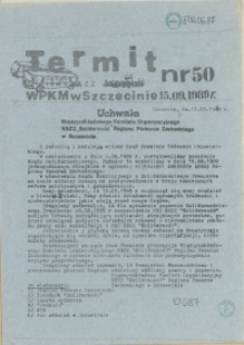 """Termit : pismo NSZZ """"Solidarność"""" WPKM w Szczecinie. 1989 nr 50"""