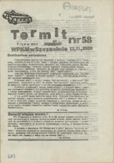 """Termit : pismo NSZZ """"Solidarność"""" WPKM w Szczecinie. 1989 nr 58"""