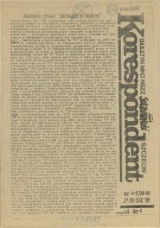 """Korespondent : biuletyn MKO NSZZ """"Solidarność"""" Szczecin. 1989 nr 4-5"""