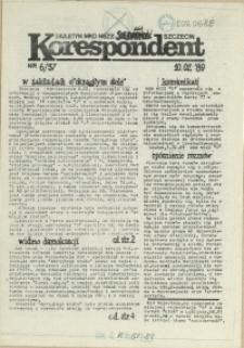 """Korespondent : biuletyn MKO NSZZ """"Solidarność"""" Szczecin. 1989 nr 6"""
