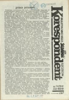 """Korespondent : biuletyn MKO NSZZ """"Solidarność"""" Szczecin. 1989 nr 7-8"""