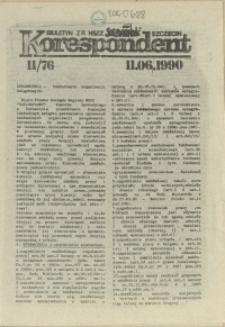 """Korespondent : biuletyn MKO NSZZ """"Solidarność"""" Szczecin. 1990 nr 11"""