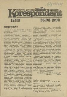 """Korespondent : biuletyn MKO NSZZ """"Solidarność"""" Szczecin. 1990 nr 15"""