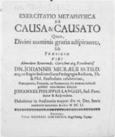 Exercitatio methaphysica de causa et causato qvam, divini numinis gratia adspirante