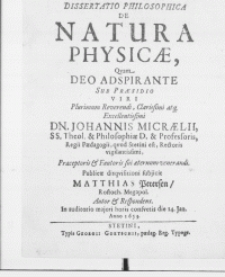 Dissertatio Philosophica De Natura Physicae