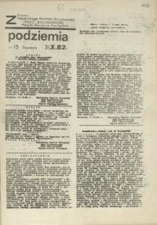"""Z Podziemia : pismo Regionalnego Komitetu Związkowego NSZZ """"Solidarność"""" Region Pomorze Zachodnie. 1982 nr 15"""