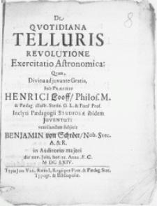 De Qvotidiana Telluris Revolutione Exercitatio Astronomica